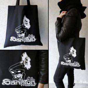 Black bag with gramophone logo